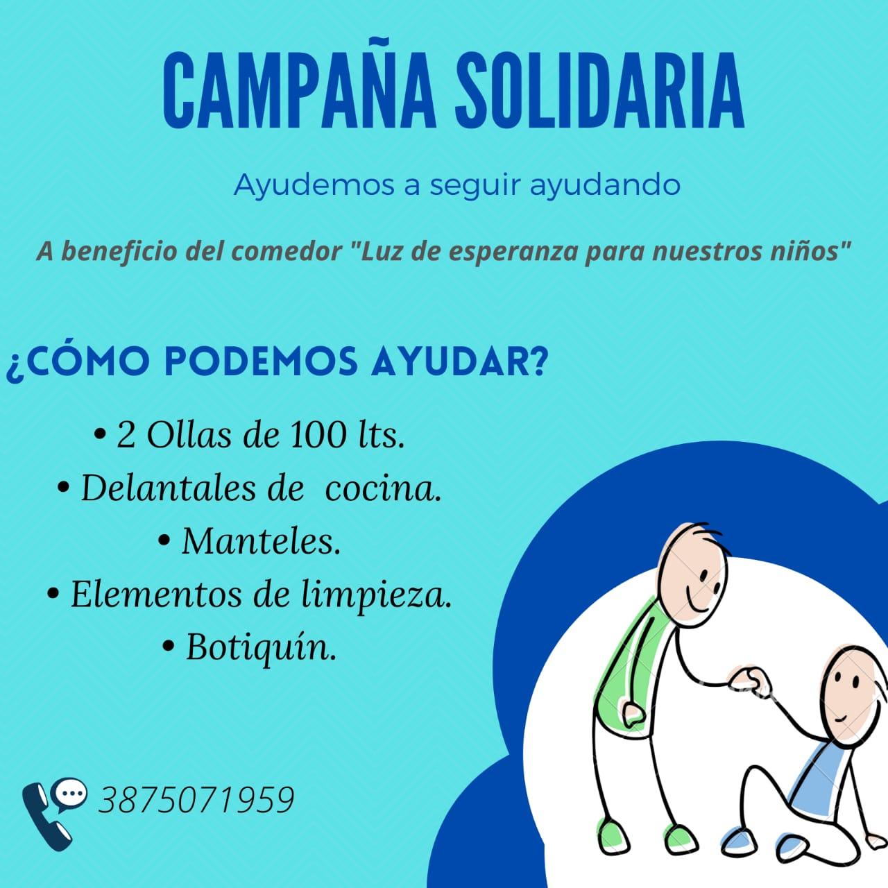"""Campaña solidaria para ayudar al comedor """"Luz de Esperanza para nuestros niños"""""""