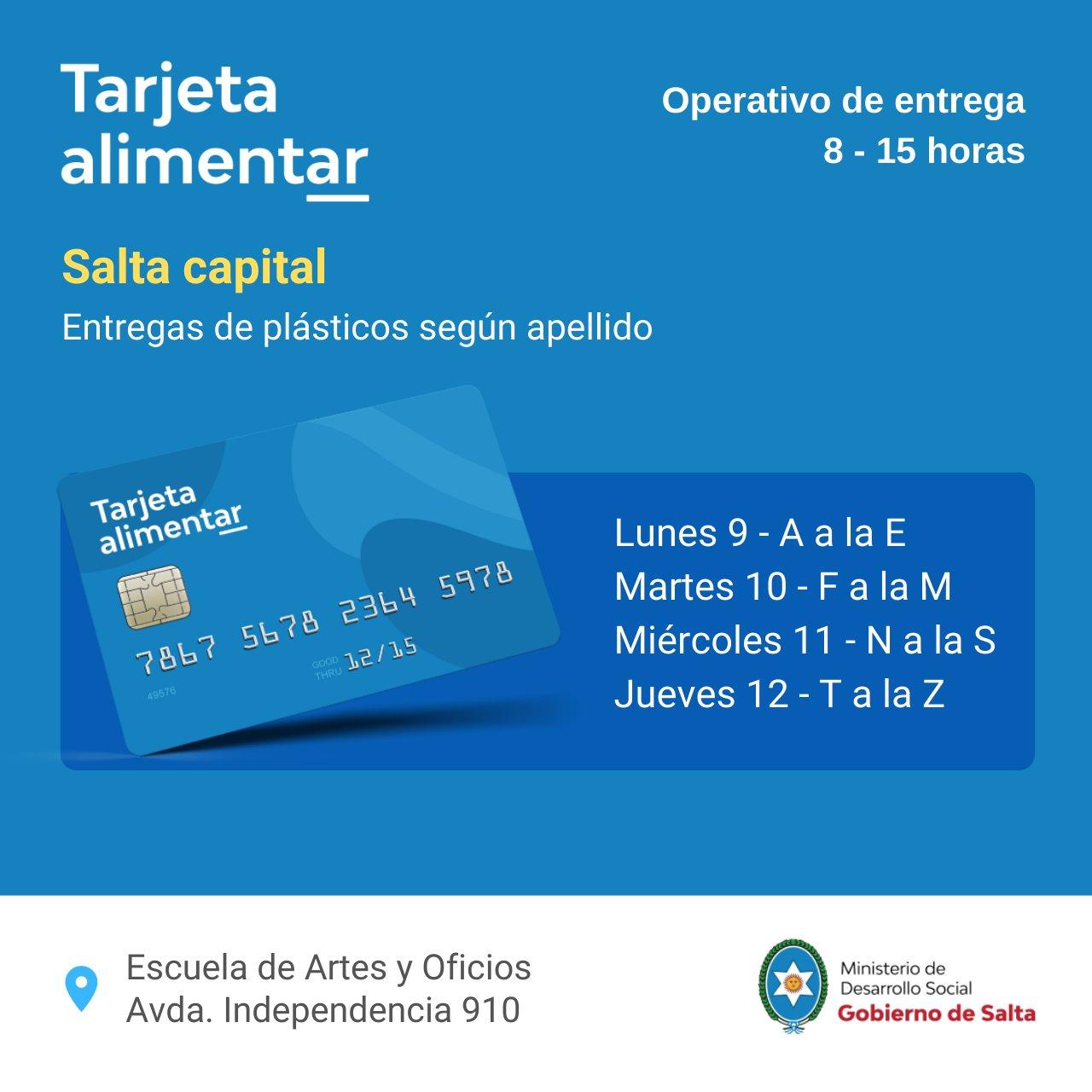 Habrá entrega de Tarjetas Alimentar en Salta Capital