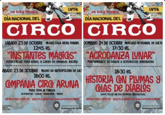 Espectáculos gratuitos de circo en la capital salteña para el fin de semana