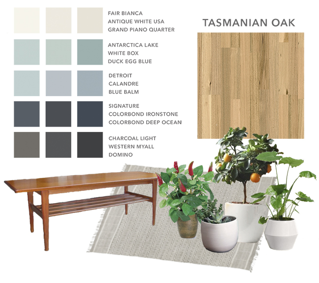 a general moodboard: blue-gray colour palette, tas oak floors