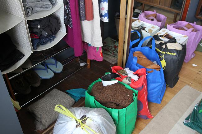 Decluttering - bag piles