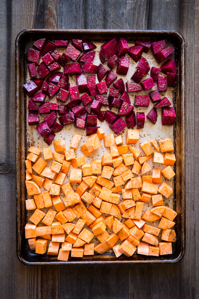 BEETS AND SWEET POTATOES ON BAKING SHEET