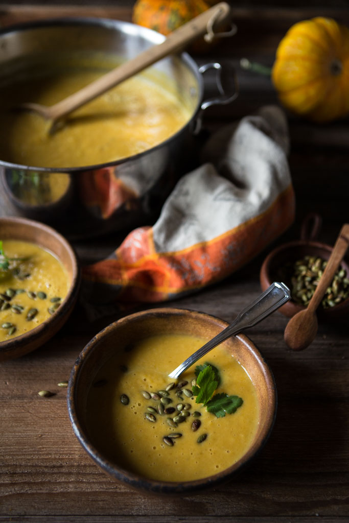 Whole30 compatible curried butternut squash soup with coconut milk.