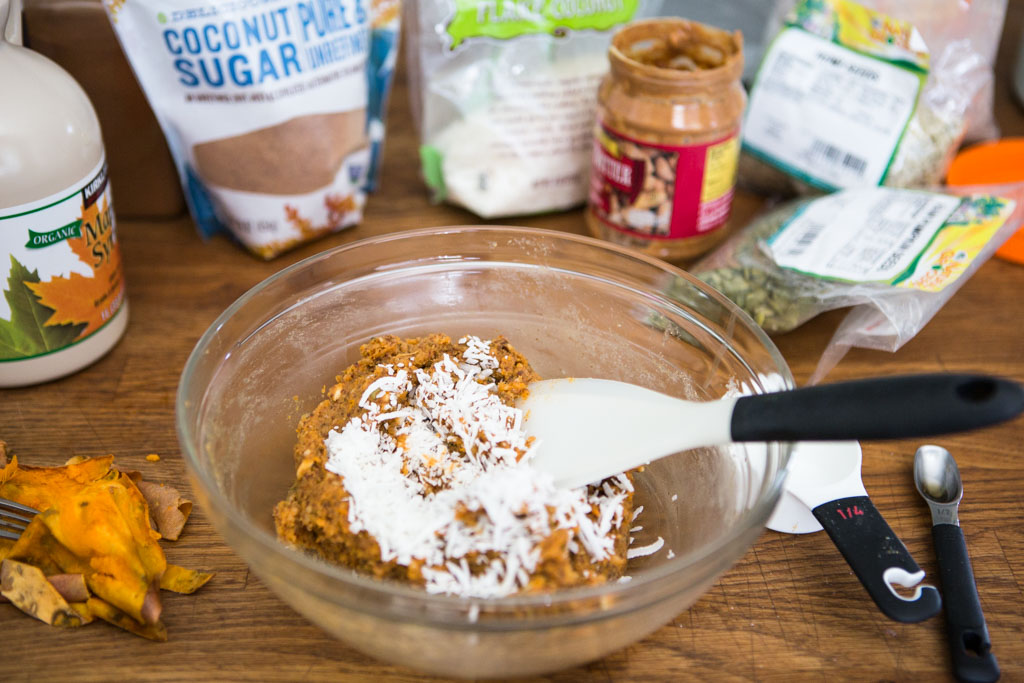 Baked sweet potato, almond meal and nut butter are the primary ingredients for these wholesome Nourishing Sweet Potato Protein Bites.