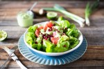 This Grapefruit Pomegranate Salad with Dairy-Free Green Goddess Dressing offers a refreshing blast of flavor in every bite.