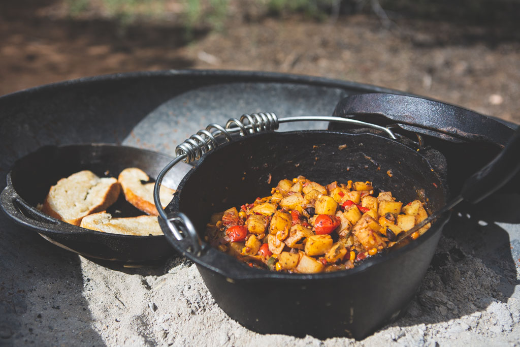 Dutch oven baked southwestern skillet hash is the perfect camp breakfast.