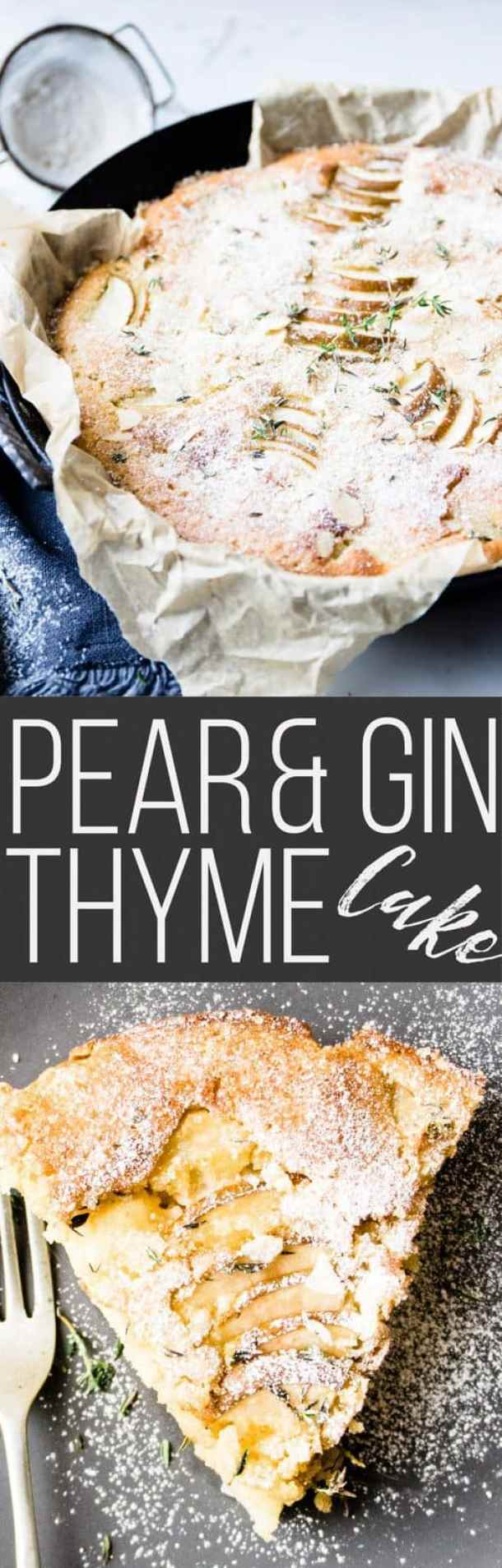 This pear thyme and gin cake is the answer to all your dessert, entertaining, brunching and snacking queries. Loaded with juicy fall pears, herby thyme and fragrant gin.