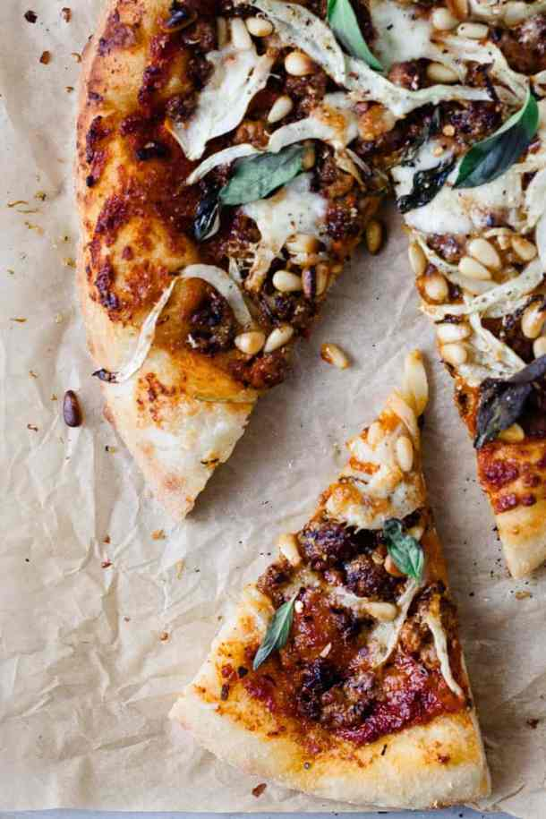 This spicy chorizo and fennel pizza is a tribute to the seasons. Deep rich roasted red pepper sauce, spicy chorizo to get that blood flowing and earthy, slightly aniseed-y fennel to bring it all together.