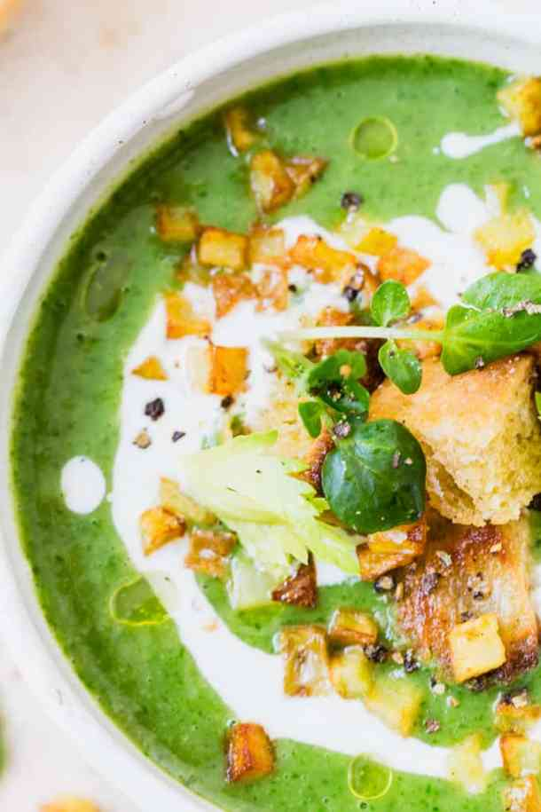 Vegan 15 Minute Watercress Soup. It's a thick nourishing soup loaded with peppery greens and creamy potatoes. And completely vegan.