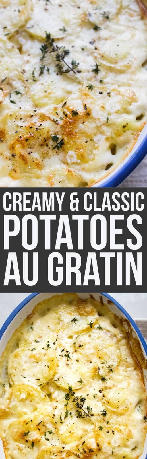 Potatoes au gratin is a simple potato side dish that takes only a few ingredients to make and is completely show stopping. Infused cream makes this special. #SideDish #potatoes #vegetarian #Holidays #HolidaySides