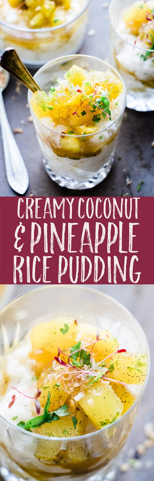 This warm and creamy coconut rice pudding is a the perfect comfort dessert. It's made with fragrant kaffir lime and coconut milk. Topped with vanilla and brown sugar pineapple, it's family friendly and vegan. Ready in 25 minutes.