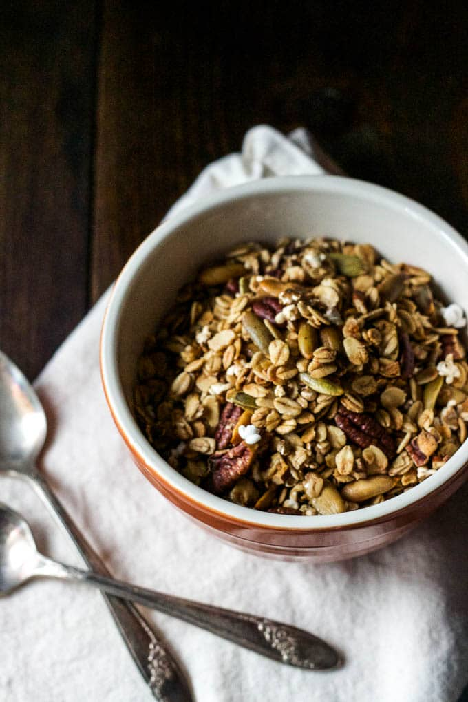 Whole Grain Sorghum Pecan Granola is easy to make and is gluten-free and vegan!