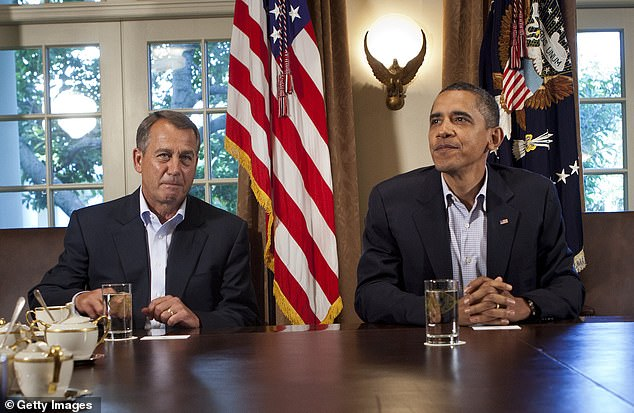 Former House Speaker John Boehner (left) wrote in his new book that Republicans and right-wing media figures truly believed President Barack Obama (right) was a 'secret Kenyan Muslim traitor'