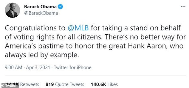 Former President Barack Obama praised Major League Baseball for its decision to pull its All-Star Game from Georgia over the state's new voting law