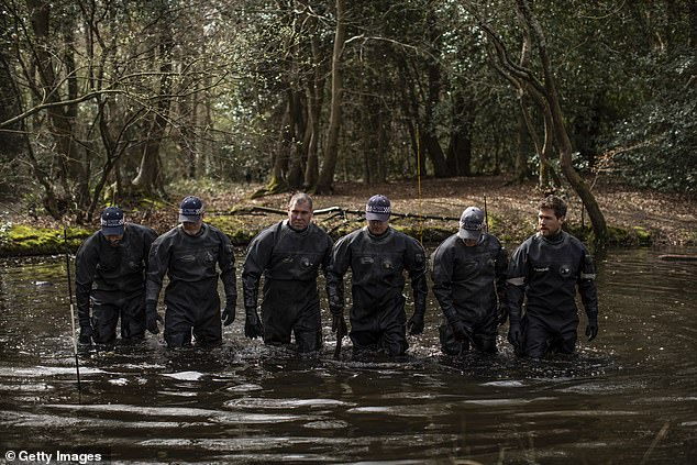 Police divers were deployed to search ponds in the woodland in north-east London. April 1