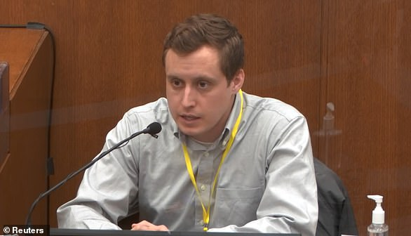 The court also heard from Dr. Bradford Langenfeld Monday, pictured, the medic at the Hennepin County Medical Center who pronounced Floyd dead