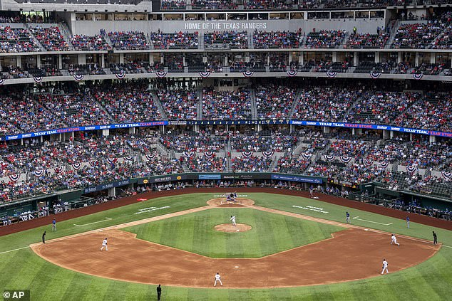 The Texas Rangers' home opening game on Monday was packed with fans as the state continues to open at a more rapid pace than other states