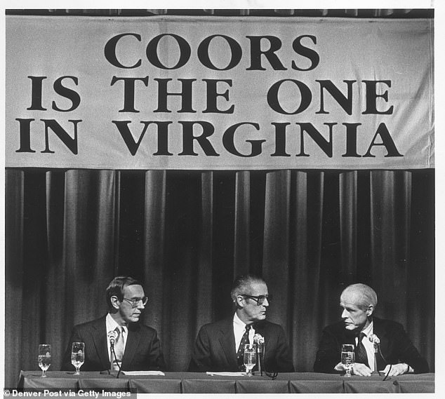 Coors executives from left Robert Rechholtz, Joseph Coors and William Coors announce that their company will build a new plant in Virginia in 1985.Two brothers, Joseph and William Coors, long-ruled the beer company and were known for their ultraconservative views, anti-union policies, and as a result they consistently attracted the wrath of civil rights groups and minorities