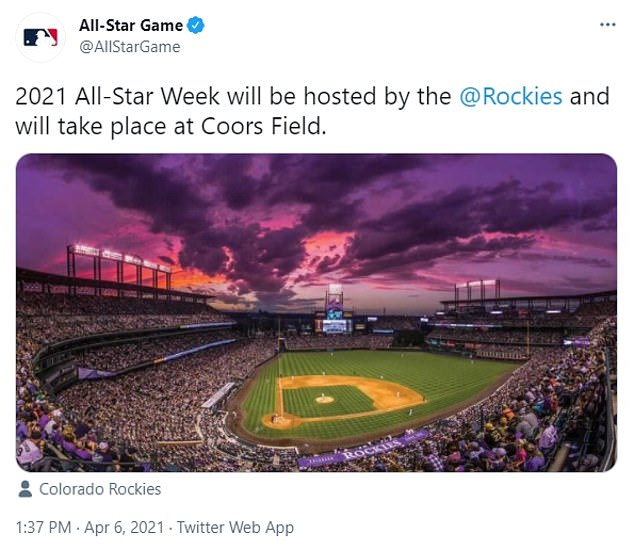 Major League Baseball confirmed on Tuesday that the Colorado Rockies would now host the annual game. MLB pulled the game out of Truist Park in Atlanta in response to the new Georgia voting law