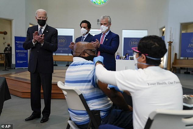 President Biden also visited a vaccination site at Virginia Theological Seminary where he watched people get their COVID shot