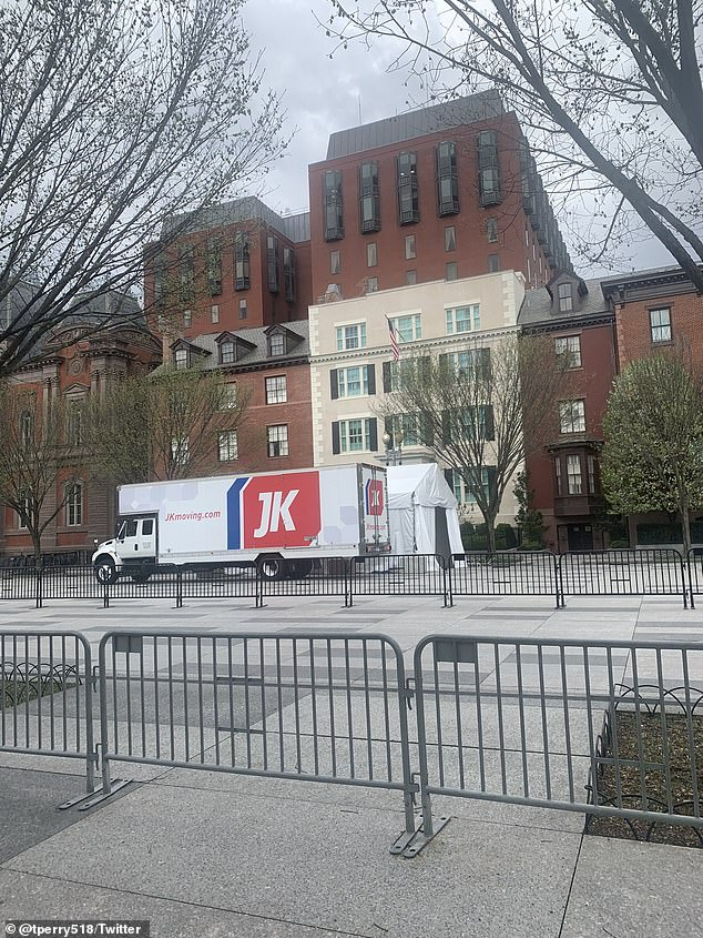 Moving trucks were seen outside Blair House earlier this week as the couple readied to leave