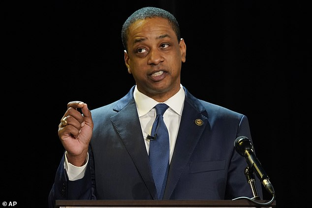 Justin Fairfax, pictured during Tuesday's debate, in which he likened himself to Floyd and Till
