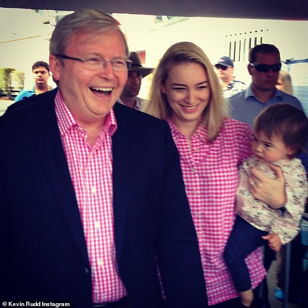 Mr Rudd's daughter Jessica (pictured together) said she thought she saw a group of people pile into her father's car