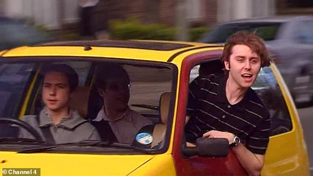 A well-known scene from The Inbetweeners in which Jay Cartwright (played by James Buckley) shouts 'bus w****rs' out the window of the teens' car to people waiting at a bus stop