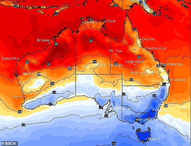 Parts of Australia are set to shiver this week as two cold fronts sweep a 'polar blast' of air across the country. This map shows the coldest areas (in blue) on Sunday morning