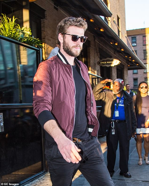 Australian actor Liam Hemsworth is spotted leaving Soho House in New York's Meatpacking District