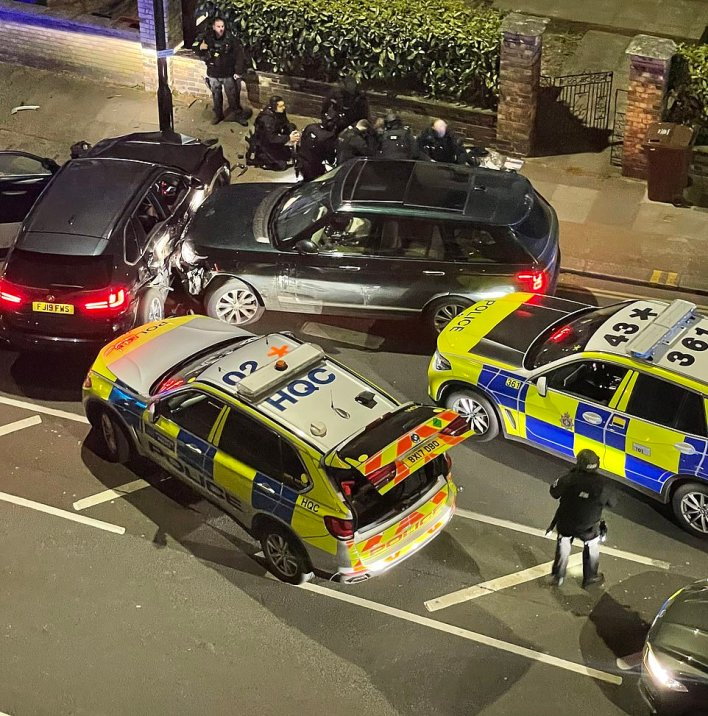 Pictures of a car accident in Chiswick, London, showed a Range Rover driver being carried away in a stretcher after he was found to have suffered 'a number of serious self-inflicted injuries'