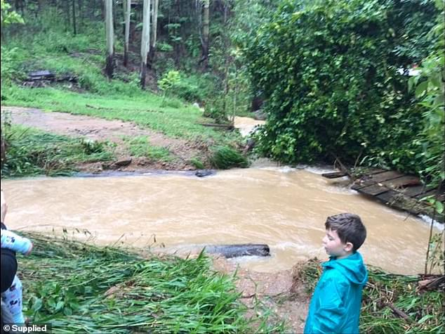 Pictured: Four-year-old Jack standing on the bank of an overflowing river during their hike out of the property