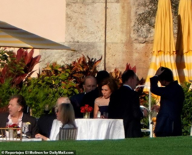 Larry Kudlow is seen with Jeanine Pirro at Mar-a-Lago during a party for the Conservative Partner Institute on Thursday