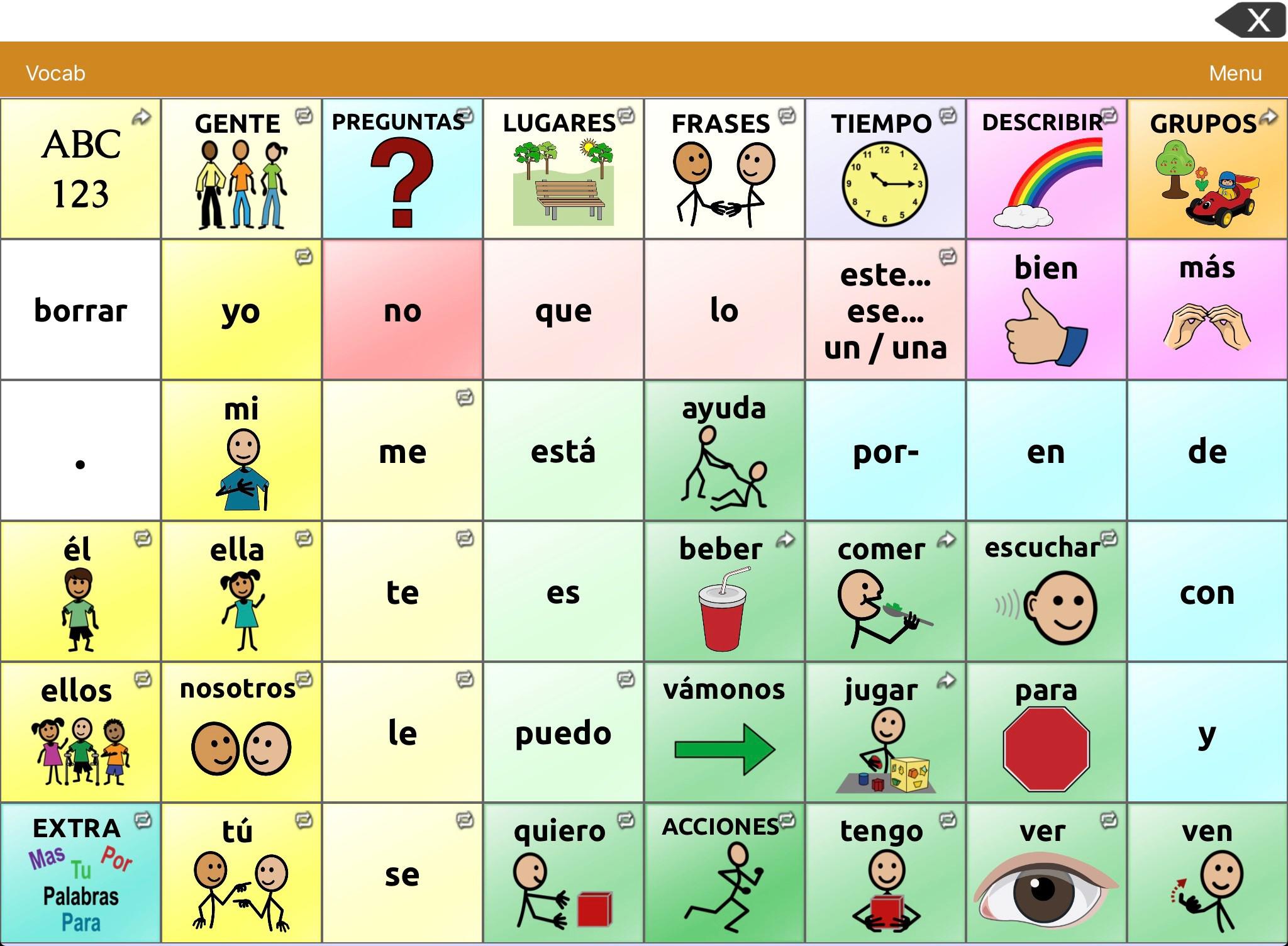 Device Options Spanish Vocabulary Files