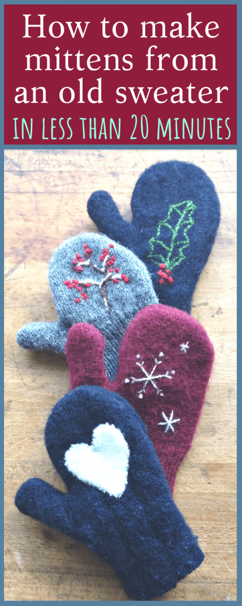 SUPER EASY tutorial for how to easily make mittens from old sweaters - in less than 20 minutes!