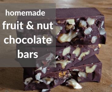 homemade fruit and nut chocolate bars