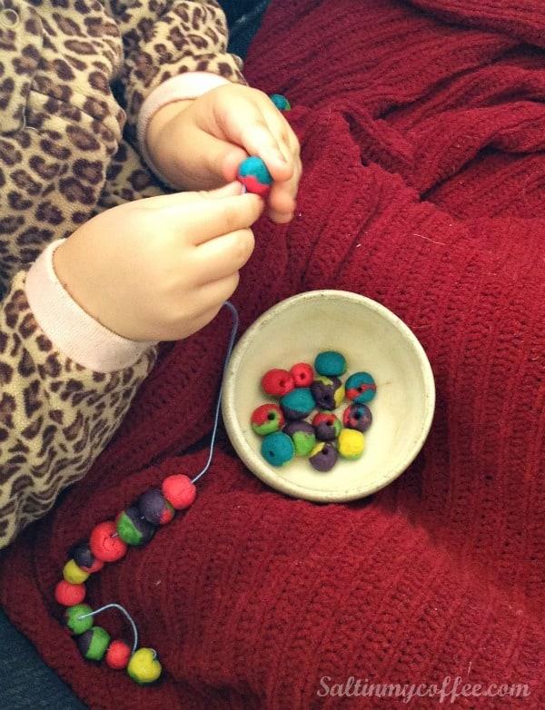 stringing play dough beads