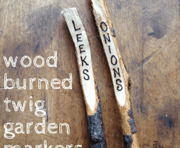 wood burned twig plant markers
