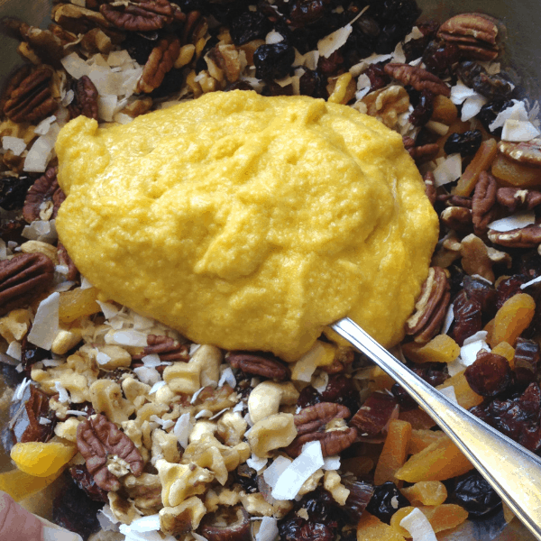 dried fruits and nuts with batter