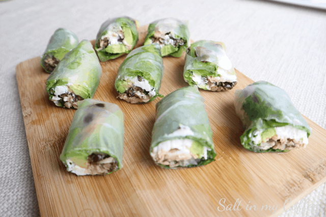 A tray of Mediterranean Tuna Spring Roll appetizers