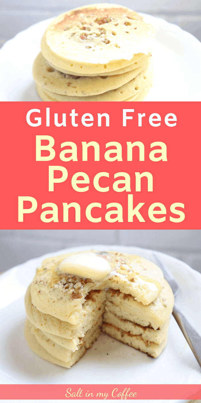 These light and fluffy Gluten Free Banana Pecan Pancakes are so quick to make! They're a favorite with kids and adults alike.