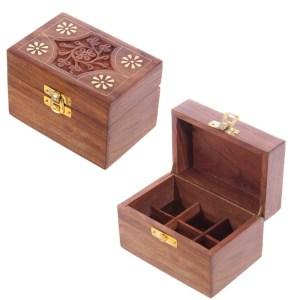 Sheesham Wood Essential Oil Box - Design 2 (Holds 6 Bottles)
