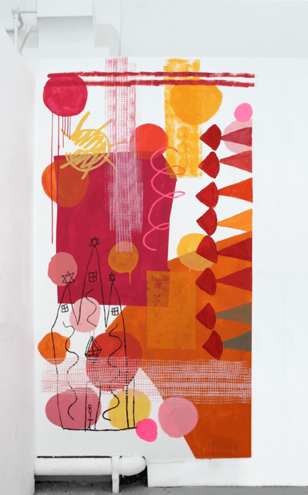 Red and orange collage artwork by Hannah Fawcett
