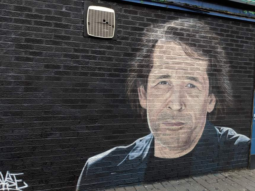 Street art Mural of Peter Saville in Withington