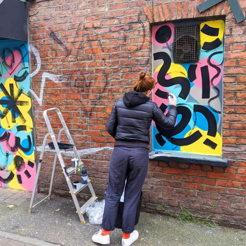 Caroline Dowsett's street artwork on Wilmslow Road in Withington