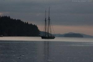 Tall ship in Fulford, Salt Spring Island, British Columbia