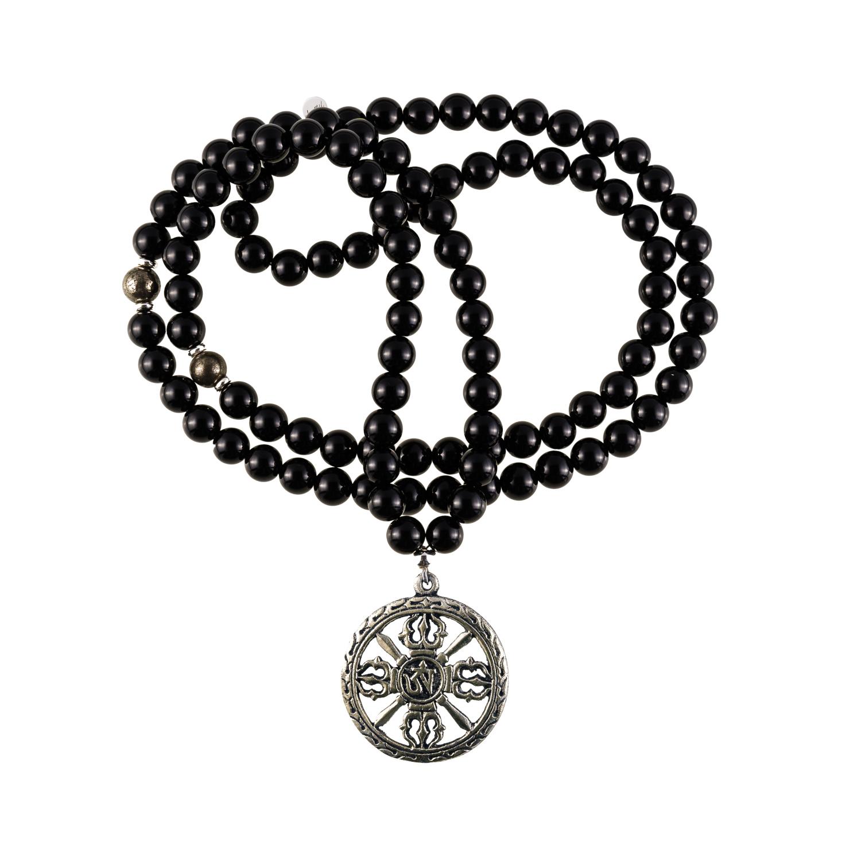 Warrior Mala Necklace | 108 black onyx mala beads, prayer beads