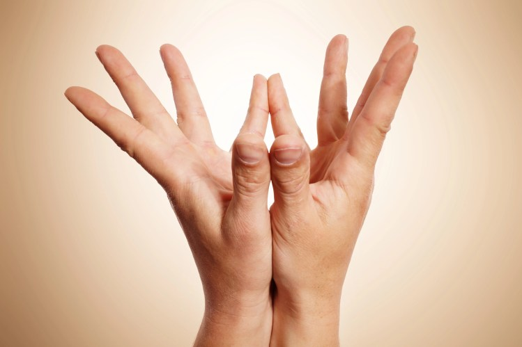 Mudras hand positions in yoga. Each part of the hand has a connection to specific part of the brain. A Mudra locks and guides energy flow.