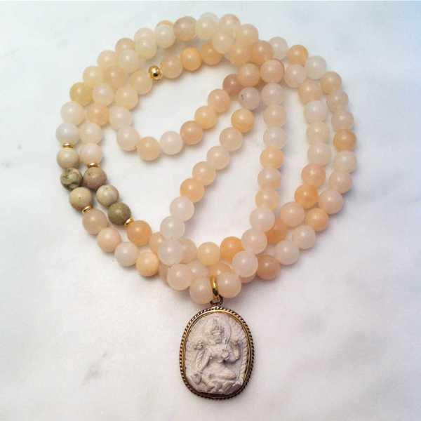 pink aventurine mala necklace with tara