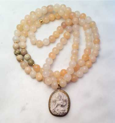 pink aventurine mala necklace with tara
